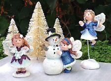 Miniature Fairy Garden Mini Village ~ Christmas 3 Snow Fairies Figurine Snowman
