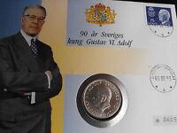 "10 Kronor Schweden 1972, Silber ""90 Geb.Gustaf Adolf""  im Numisbrief   (NB-Alb2)"