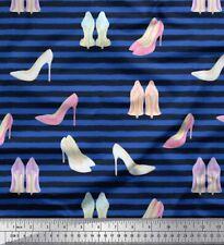 Soimoi Fabric Stripe & High Heels Fashion Printed Craft Fabric BTY-FS-564D