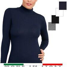 Lupetto Donna Maniche Lunghe Sottogiacca Cotone Caldo Elasticizzato S M L XL