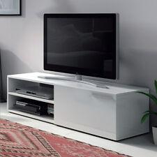 Mueble modulo de television de 130 cm de comedor o salon, blanco brillo