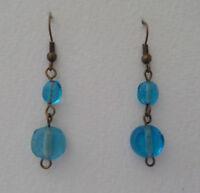 TURQUOISE BLUE HANDMADE GLASS BEAD DARK GOLD PLATED EARRINGS hook LAMPWORK HMG