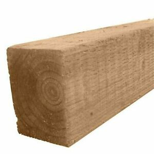 """Timber  Fence Post Brown Treated Wood 75x75mm 100x100mm  3x3""""  4x4"""" All lengths"""