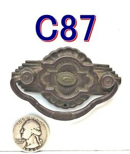 Antique Small BAIL PULL Drawer Handle Art Deco brass/steel furniture NICE *C87*