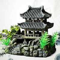 Resin Simulation House Model Aquarium Decoration Fish  Ornament DEL