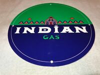 "VINTAGE RARE ""INDIAN GAS"" 11 3/4"" PORCELAIN METAL GASOLINE & OIL SIGN PUMP PLATE"