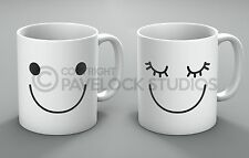 Mr & Mrs Mug Set Happy Smiley Face Cute Couple His Hers Present Coffee Mugs Gift