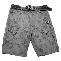NWT ECKO UNLTD AUTHENTIC MEN'S GRAY SMOKE CARGO SHORTS WITH BELT SIZE 34