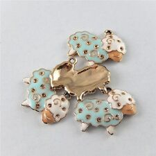 51647 Mixedcolors Alloy Mini Sheep Enamel Pendants Charms Findings Crafts 15pcs