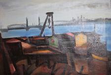 Vintage large oil painting seascape shipyard signed