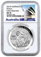 2017-P Australia $1 1 oz. Silver Koala NGC MS70 ER (Exclusive Label) SKU45144
