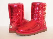 UGG AUSTRALIA Classic Short Sparkles Boots WOMEN 7 RED Sparkly Sequins Shiny