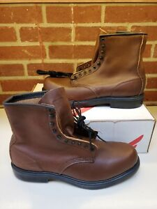 """Red Wing 953 Supersole Mens Leather 8 """" Soft Toe Work Boots Size 14 B"""