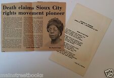 1977 SIOUX CITY IA  CIVIL RIGHTS PIONEER  Elzona Trosper  NAACP Funeral Program