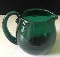 Blenko Glass Pitcher Vase Forest Green Art Blown Mcm Modern B13