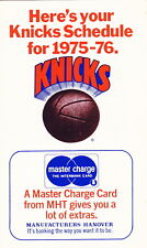 """1975-76 NEW YORK KNICKS BASKETBALL LARGE FORMAT SCHEDULE - 3"""" X 5"""""""