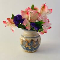 Studio Art Pottery Vase Blue Flowers Wheel Thrown Handmade Signed Jones 3""