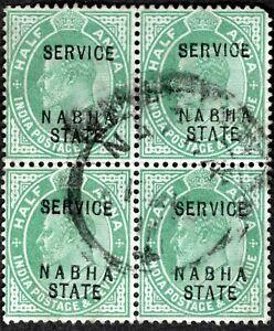 INDIA NABHA 1903 EDWARD VII USED SERVICE BLOCK-4 SC#A33/017 GRN 1/2A WMK 1-STAR