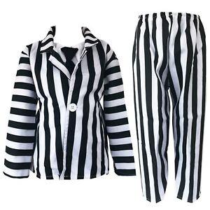 CHILDRENS KIDS CRAZY GHOST FANCY DRESS COSTUME STRIPED SUIT HALLOWEEN BOYS GIRLS