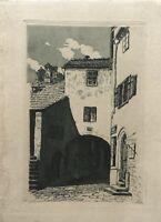 ALTE HOFDURCHFAHRT - AQUATINTA RADIERUNG UM 1920 SÜDDEUTSCH - 14 X 9,5