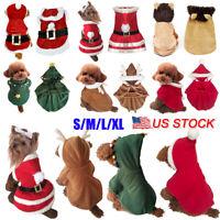 Dog Puppy Sweater Cloak Warm Clothes Pet Costume Coat Apparel Christmas Santa US