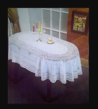 "White Table Cover Vinyl Plastic Embossed Tablecloth Oval 60 X 90"" Lace Reusable"