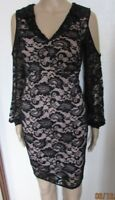 NEW BLACK LACE MATERNITY DRESS SIZE 8 COLD SHOULDER