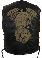 Herren Lederweste Laser Patch Biker Leder Kutte Rockerweste Clubweste Custom