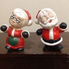 "HANDMADE MR AND MRS SANTA CLAUS 7"" CHRISTMAS TABLETOP DECORATIONS"