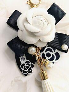 Luxury Designer Inspired Camellia Black White Bag Charm Keychain Keyring Key