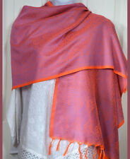 Banaras Silk Peach Blue Woven Floral Paisley Design Shawl, Wrap, Stole Fringes