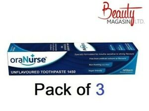 3 x OraNurse Unflavoured Toothpaste 50ml