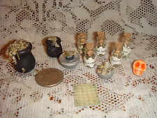 Miniature dollhouse WICCA pagan witch herb spell cauldron accessory lot