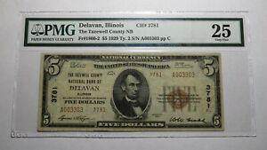 $5 1929 Delavan Illinois IL National Currency Bank Note Bill Ch. #3781 VF25 PMG