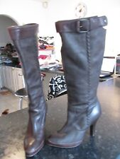 """NINE WEST LONG BROWN LEATHER BOOTS SHOES SIZE 7W HEEL 4"""" BACK ZIP  WORN"""