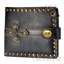 T&T Punk Black Leather Skull Cross Wallet H28A