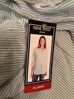 Nine West NWT Women's Blue & White Stripe Shirt XL