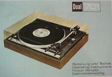 DUAL 701 TURNTABLE OPERATING INSTRUCTIONS MANUAL 38 Pages