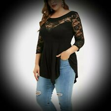 New Black Gothic Cotton Jersey & Lace Sleeve Casual Blouse Top size 4XL 22 24 26