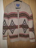 Vintage 1970s Rare Pendelton Big Lebowski Wool Knit Westerly Cardigan Large