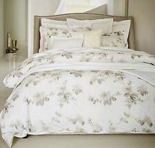 Sferra Barletta F/Queen Duvet Cover Tin Grey Floral Cotton Percale Italy New