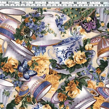 TEACUPS ROSES & BUTTERFLIES Purple Blue Mauve Gold Fabric - FQ