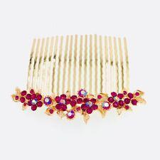 Hair Comb Hairpin use Swarovski Crystal Elegant Wedding Bridal Hot Pink C11