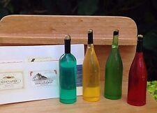 Miniature Dollhouse FAIRY GARDEN Accessories ~ 4 Wine Bottles w Assorted Labels