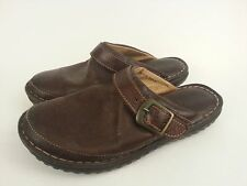 Born Brown Leather Mules Slipons 6438 Womens Sz 7 M Eu 38 Buckle Detail Preowned