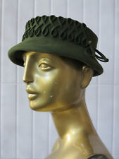 Damen Hut Filzhut grün olive 30er TRUE VINTAGE 30s felt lady hat green