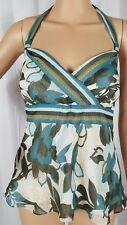 Ann Taylor Loft Womens Blue Green Stripe Halter Top Zipper Lined Floral 2 Petite