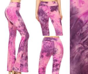 Women's Tie Dye Flare Leg Bell Bottom Pants Soft Stretch Long High Waist Yoga