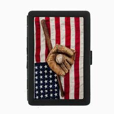 Vintage Baseball D2 Black Cigarette Case / Metal Wallet Card Money Holder