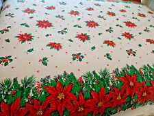 Christmas Table Cloth Poinsettias Springs Mills Red Green White 70x84 Vtg tc10